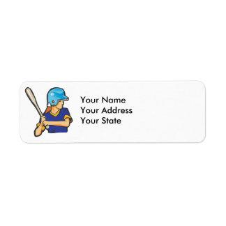gráfico del jugador de béisbol del softball del ch etiqueta de remite