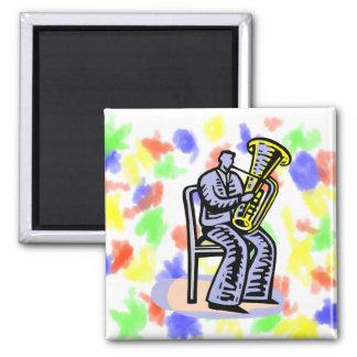 Gráfico del jugador de la tuba de la orquesta, ima imán cuadrado