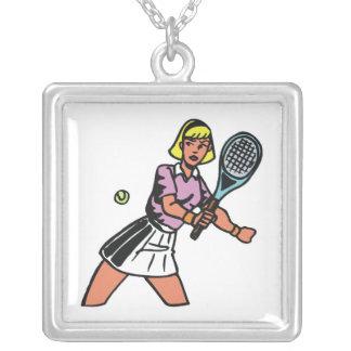 gráfico del jugador de tenis de la mujer colgante cuadrado