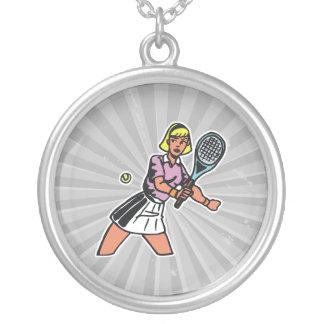 gráfico del jugador de tenis de la mujer colgante redondo