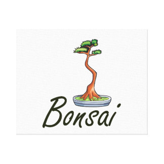 Gráfico del literati del texto de los bonsais impresion en lona