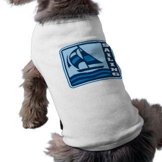 gráfico del logotipo del velero de la navegación playera sin mangas para perro