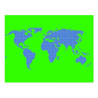 Gráfico del mapa del mundo de la BITMAP del pixel Tarjetas Postales