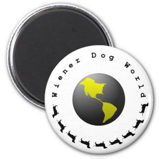 Gráfico del mundo del perro de la salchicha de imán redondo 5 cm