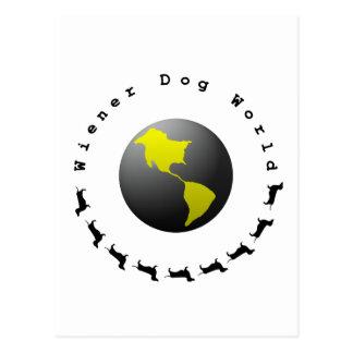 Gráfico del mundo del perro de la salchicha de postal
