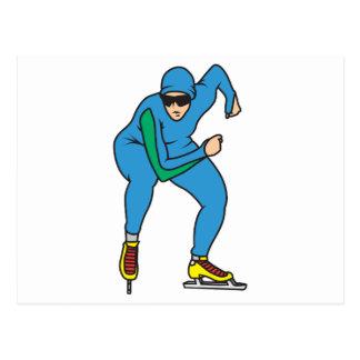 gráfico del patinador de la velocidad tarjeta postal