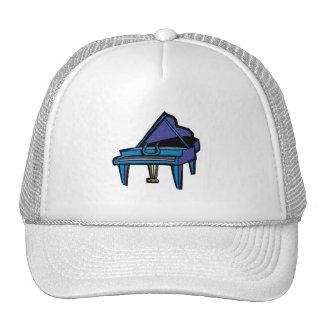 Gráfico del piano de cola, imagen azul gorros bordados