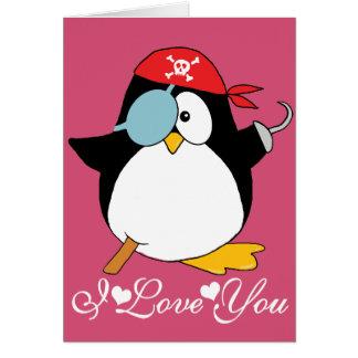 Gráfico del pingüino del pirata te amo tarjeta de felicitación