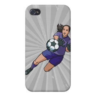 gráfico del portero del fútbol del chica iPhone 4 protectores