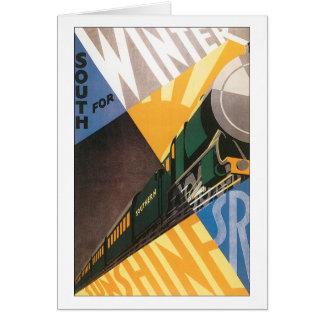 Gráfico del poster del viaje del vintage del tren tarjeta pequeña