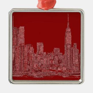 Gráfico del rojo de NYC Ornamentos De Navidad