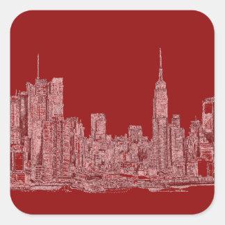 Gráfico del rojo de NYC Pegatinas Cuadradas