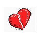 gráfico del rojo del corazón quebrado impresión de lienzo