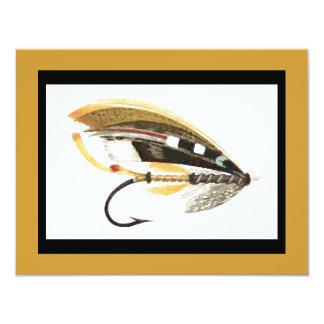 Gráfico del señuelo de la pesca con mosca invitacion personalizada