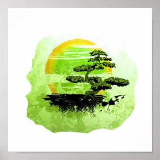 Gráfico del vintage de los bonsais, versión verde poster