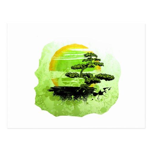 Gráfico del vintage de los bonsais, versión verde postales