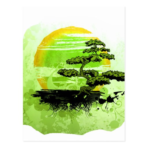 Gráfico del vintage de los bonsais, versión verde postal