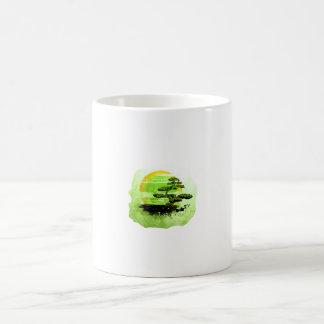 Gráfico del vintage de los bonsais, versión verde taza básica blanca