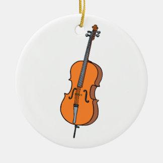 Gráfico del violoncelo, diseño de la música de adorno navideño redondo de cerámica