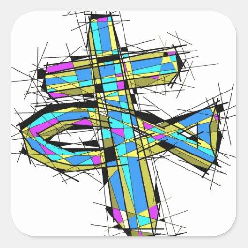 Gráfico del vitral de la cruz y de los pescados pegatina cuadradas