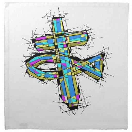 Gráfico del vitral de la cruz y de los pescados servilletas de papel