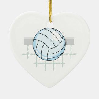 gráfico del voleibol y de la red adorno navideño de cerámica en forma de corazón