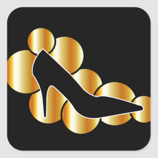 Gráfico del zapato con los círculos de oro pegatina cuadrada