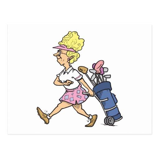 gráfico divertido del dibujo animado del golfista postal