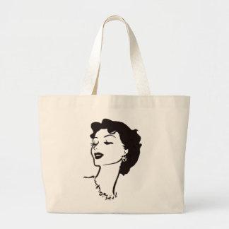 Gráfico francés blanco y negro de la cara de la mu bolsa tela grande
