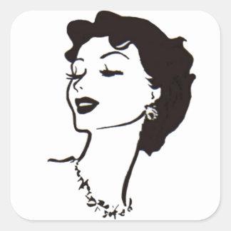 Gráfico francés blanco y negro de la cara de la pegatina cuadrada