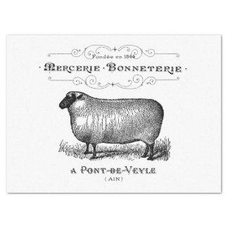 Gráfico francés de las ovejas del vintage papel de seda grande