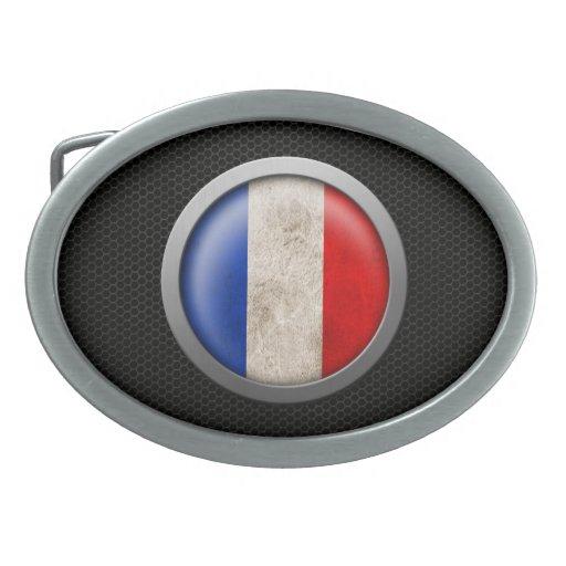 Gráfico francés del disco de la bandera de la mall hebillas de cinturón ovales