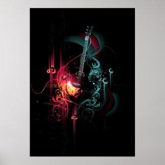 Gráfico fresco de la música con la guitarra impresiones