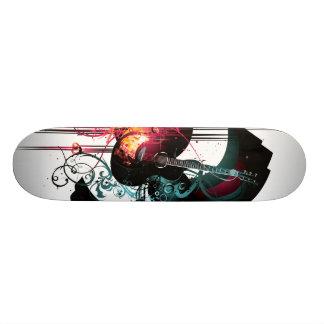 Gráfico fresco de la música con la guitarra skateboards