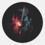 Gráfico fresco de la música con la guitarra pegatina redonda