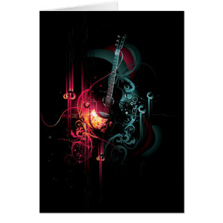 Gráfico fresco de la música con la guitarra tarjeton