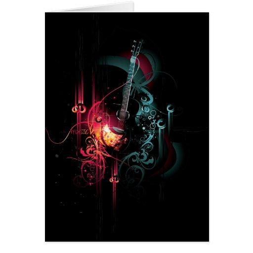 Gráfico fresco de la música con la guitarra tarjeta de felicitación