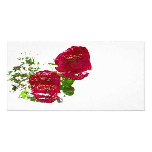 gráfico grunged dos rosas tarjeta con foto personalizada