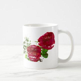 gráfico grunged dos rosas taza de café