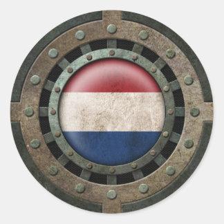 Gráfico holandés de acero industrial del disco de pegatina redonda