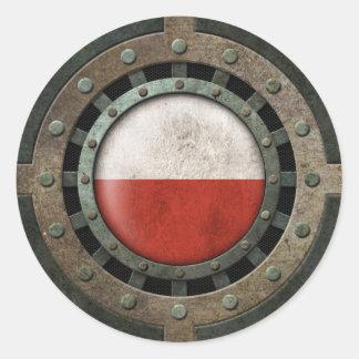 Gráfico industrial del disco de la bandera del pegatinas redondas
