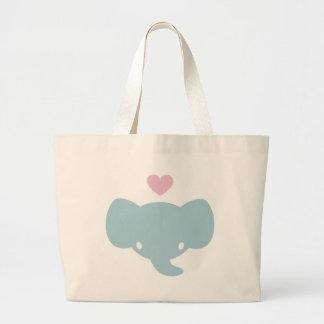 Gráfico lindo del corazón del elefante bolsa tela grande