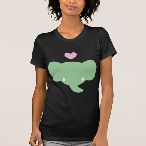 Gráfico lindo del corazón del elefante camisetas