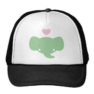 Gráfico lindo del corazón del elefante gorra