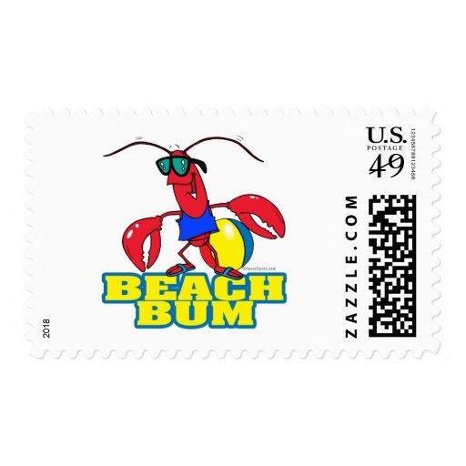 gráfico lindo del dibujo animado de la langosta sello postal