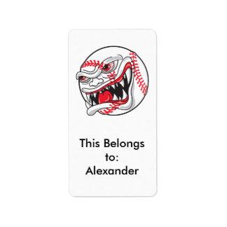 gráfico malo enojado del béisbol etiqueta de dirección