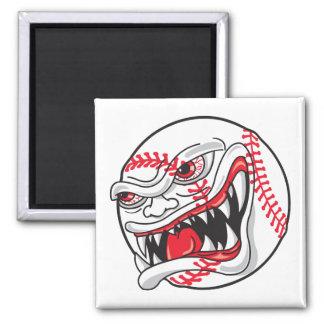 gráfico malo enojado del béisbol imán cuadrado