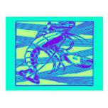 Gráfico moderno de la langosta púrpura postal