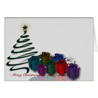 Gráfico moderno del árbol de navidad con los tarjeton