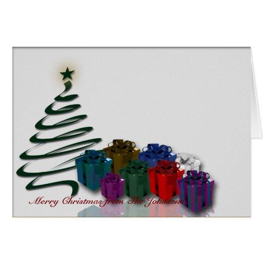 Gráfico moderno del árbol de navidad con los tarjeta de felicitación